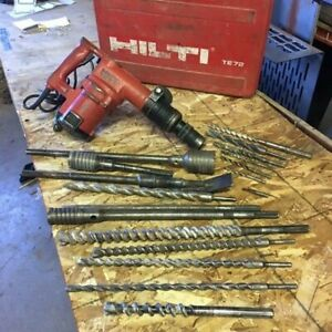 Hilti Te 72 Rotary Hammer Drill Chipping Hammer Jack With Case 17 Attachments