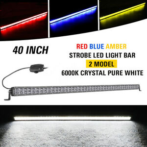 40 Strobe Led Light Bar Flash Driving Warn Lights Amber red blue Off Road 42in