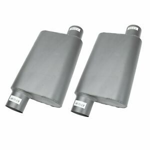 2pcs Offset 3 Inlet Outlet Chambered Performance Race Mufflers Weld On