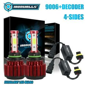 4 Side 9006 Hb4 Led Headlight Fog Bulbs Kit Canbus Error Anti Flicker Decoder
