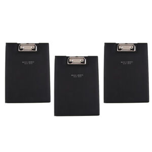 3 Lot File A5 Paper Organizer Storage Clipboard Writing Black Pu For Office