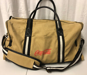 Heritage Supply Co. Brown Canvas Leather Coca Cola Shoulder Strap Duffle Bag
