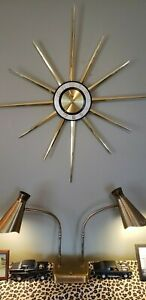 Lux Robert Shaw Large Vintage Starburst Sunburst Wall Clock Battery Power
