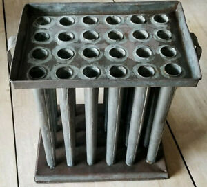 Antique 24 Candle Taper Tube Mold Tin Primitive Candlestick Maker