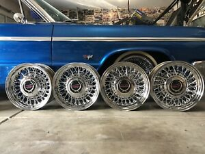 4 Clean 15x6 Cadillac Wire Wheels 52 Spoke 5x5 Chevy Bolt Pattern
