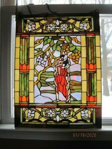 Large Stained Glass Window Hanging Panel 23 X 17 Vintage