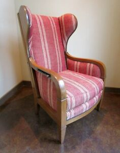 Baker Furniture Recliner Wingback Chair Vintage Mid Century Reclining Wing Back