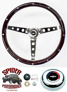1955 1956 Bel Air 210 150 Steering Wheel Red White Blue Bowtie 15 Classic Wood