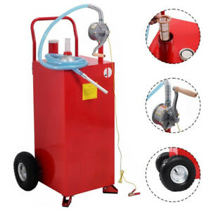 Portable 30 Gallon Gas Caddy Fuel Storage Tank Container Pump Transfer Wheel Car