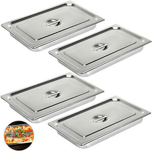 4 pack Full Size 4 Deep Silver Stainless Steel Hotel Steam Table Pans