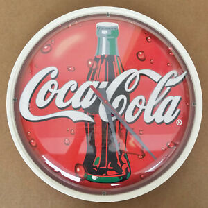 Vintage Coca Cola Clock Working Circular Round Battery Powered Bottle