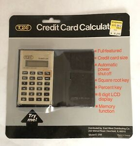 Vintage Credit Card Calculator Tozaj Model E 259 New Old Stock