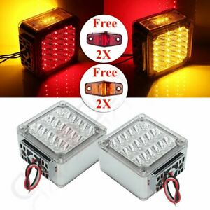 2x Red yellow Amber Car Tail Lights 39 Led Universal 12v 4x Free Lights