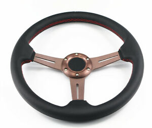 6 Hole Rose Gold Metallic Leather Red Stitch Racing Jdm Steering Wheel Horn