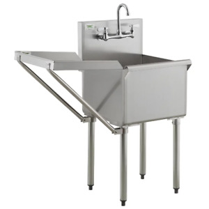18 X 18 W Faucet Drainboard Stainless Steel Commercial Utility Sink Mop Prep