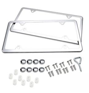2pcs Silver Stainless Steel License Plate Frame Cover Front Rear Kit Universal