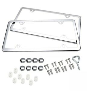 2x Chrome Stainless Steel Metal License Plate Frame Tag Cover W screw Cap Silver