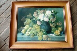 Old Beaded Wood Frame W Fruit Floral Picture 25x20 Beautiful