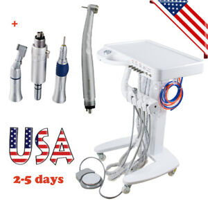 Usa Portable Dental Delivery Unit Mobile Cart Equipment 3w Syringe Handpiece Kit