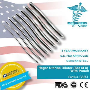 Hegar Uterine Dilator set Of 8 With Pouch Obgyn Diagnostic Surgical Instrument