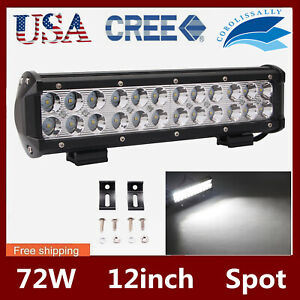 12 Inch 72w Led Work Light Bar Spot Beam Fits Ute Boat Driving Lamp Offroad 4wd