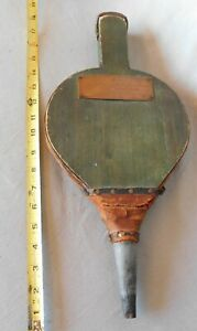 Antique Fireplace Bellows Green Painted Leather Engraved Plaque Wooden 19th C
