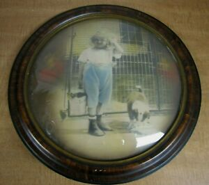 Antique Tiger Wood Rare Round Convex Bubble Picture Girl Her Puppy Frame 19 D