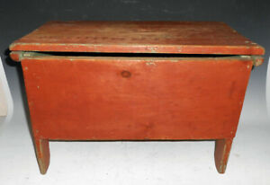 Early 1800 S Childs Six Board Boot Jack Blanket Chest Red Paint Miniature