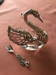 Vtg West German Sterling Silver Cut Glass Swan Salt Cellar With Spoon Albert B