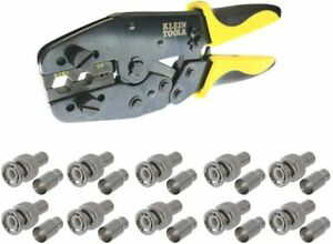 Coax Cable Crimper With Ratchet Tool For Rg59 6 With 10pk Bnc rg59 Connectors