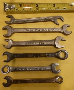 Miniature Sae Wrench Lot Of 6 Blackhawk Barcalo Proto Herbrand 3 16 To 11 32