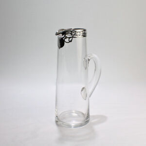Tall Art Nouveau Sterling Silver Overlay Cocktail Or Lemonade Pitcher Gl