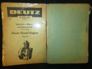 Deutz Air cooled Diesel Engine F1l 712 Instruction Manual Spare Parts List
