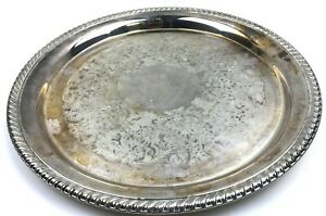 Wm Rogers Silver Plate Round Tray