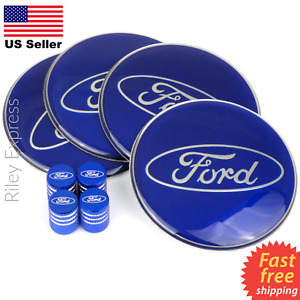 Blue Ford Wheel Center Cap Sticker Decals 2 55 Blue Ford Tire Valve Caps