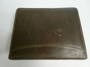 Franklin Covey Sandstone Genuine Leather 7 Ring Binder Planner Made In Usa