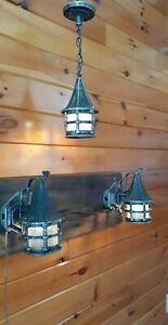 Vtg Gothic Cathedral Medieval Cast Metal Wall Sconces Light Fixture 3 Pc Set