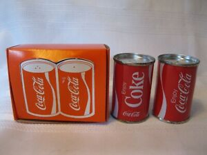 Vintage Coca Cola Coke Cans Salt & Pepper with Box Early 1970's