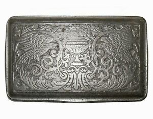 18th C Antique English Hinged Pewter Snuff Box W Eagles Roses Classical Urn
