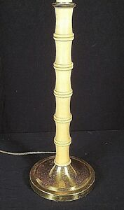 Mid Century Hollywood Regency Bamboo Turned Wooden Lamp On A Brass Base