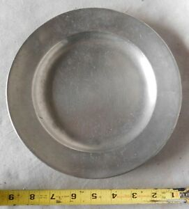 Antique Early 18th C Pewter Dinner Plate American English Flat Rim Unmarked