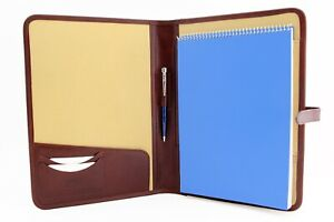 Leather Portfolio Leather Padfolio Document Holder A4 Conference Folder Brown