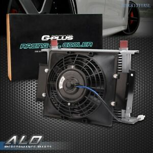Universal 28 Row Engine Transmission 10an Oil Cooler Silver 7 Electric Fan Kit