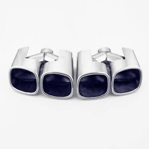 Pair Dual Wall Quad Square Out 2 1 8 Exhaust Tips 304 Stainless Steel Staggered