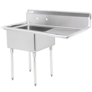 49 1 Compartment Stainless Steel Commercial Utility One Sink Right Drainboard