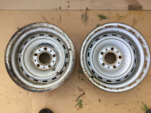 Original Chevrolet Gmc C 10 Truck 15x8 Rally Wheels 5 Lug Pair Hot Rod Steel Wow