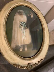 Vintage Antique Wedding Oval Bubble Picture Wood Frame 18 5 X25 Old Decor
