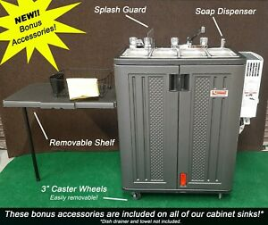 Propane Concession Sink Portable Sink 3 Compartment Sink W Removable Shelf