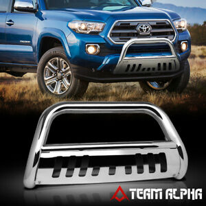 Fits 2016 2017 Toyota Tacoma Bull Bar Stainless Steel 3 grille Push Bumper Guard