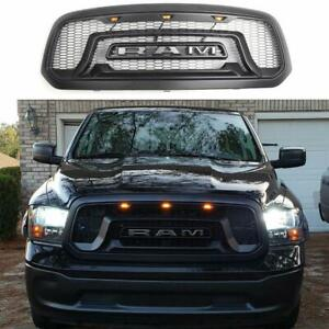 For 2013 2018 Dodge Ram 1500 Matte Black Front Bumper Grille W Led Lights Logo
